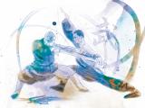 Dibujo de dos monjes enfrentándose