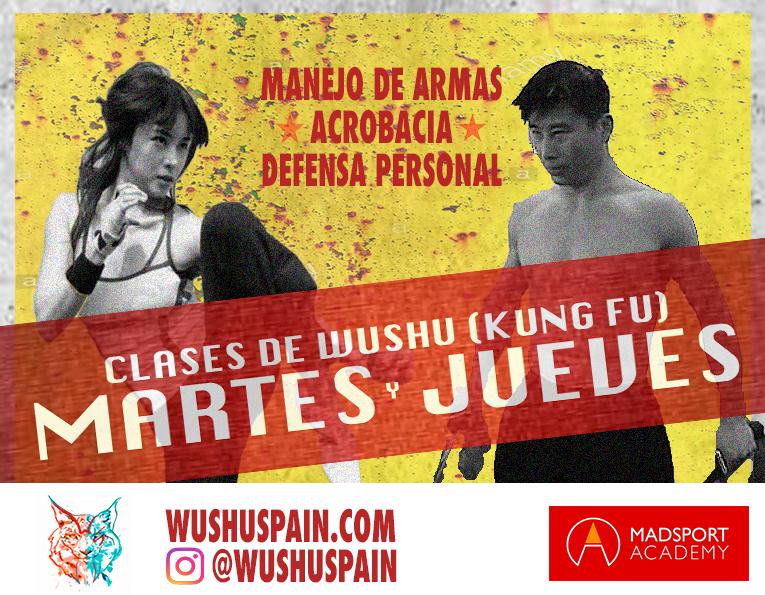 Cartel clases de Wushu Jóvenes y Adultos